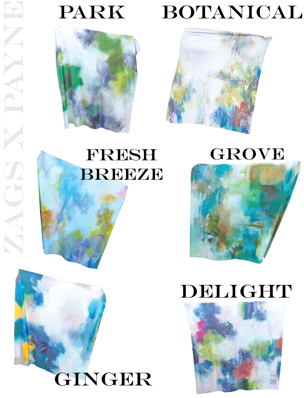 ZAGS teamed up with Atlanta's own abstract fine artist Melissa Payne Baker to create this collection of ZAGS lovely brush stroke patterns!