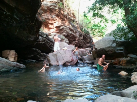 On that hot walk we found an wonderful natural pool – much to all of our relief!!