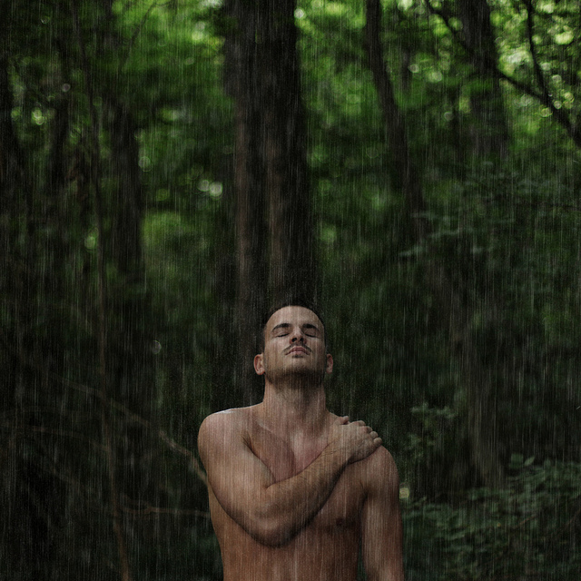hot guy alone in forest