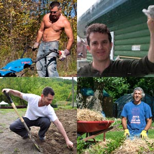 Four photos in a square.  From upper left: shirtless man mowing lawn, man washing window, man digging with a shovel, man with hay and wheelbarrow