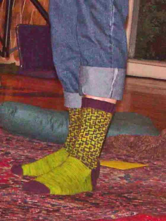 socks beening displayed on feet