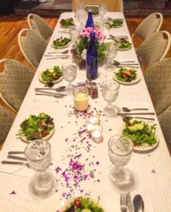 Table set for Sunday evening gala dinner.