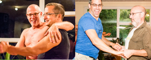 Two photos.  Left: two men dancing.  Right: two men dancing.