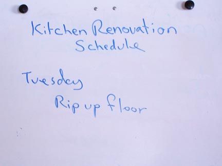 Sign announcing Kitchen Renovation