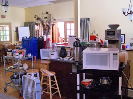 Kitchen equipment filling the dining room