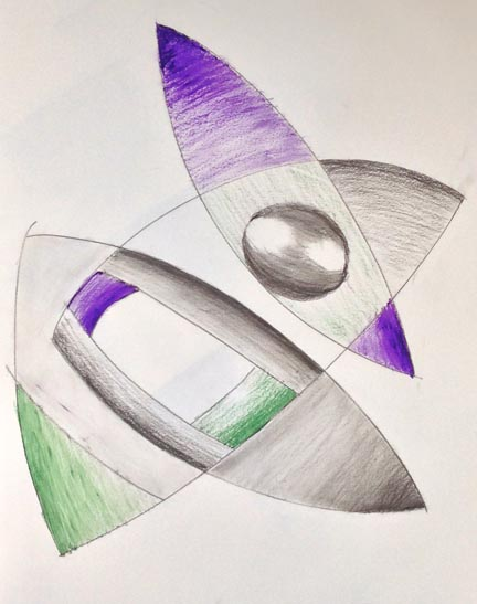 Abstract drawing with grey,rpurple and blue