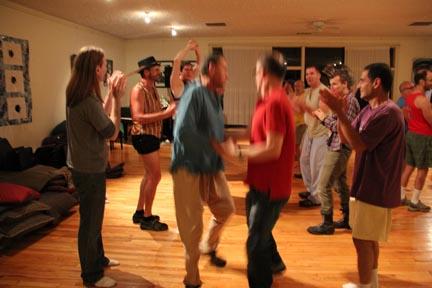 Men contra dancing
