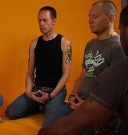 Men meditating