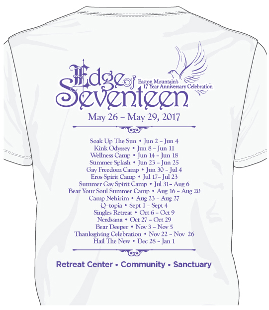 Back of Edge of 17 shirt with event title, events June-December 2017.