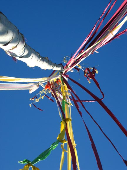Ribbons tied to top of pole