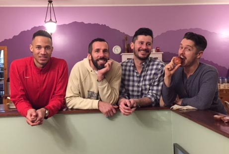 "Volunteer Roderick Williams, Host Mirco Sorci, Host Miguel Villalobos, and Presenter Jonathan Winn.  Mirco led a workshop called ""Pasta 101"" (see the illustration at the start of this post) and another called ""Homemade Healing Salve.""  Jonathan led a workshop called ""The Gift of Being Gay."""
