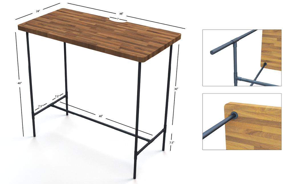 Butcher's Block Stand-Up Desk Concept Rendering