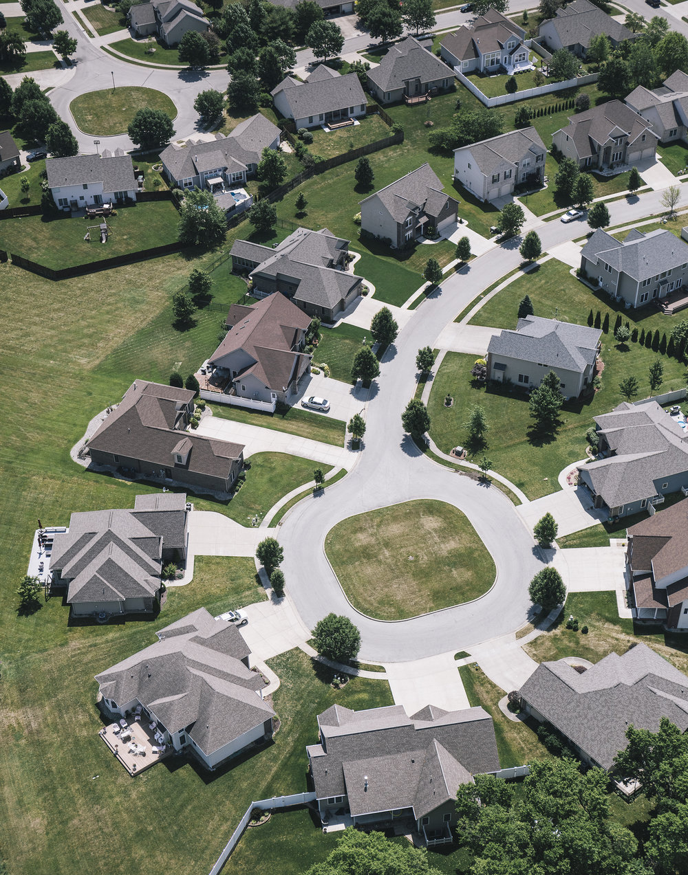 Aerial View of suburban development