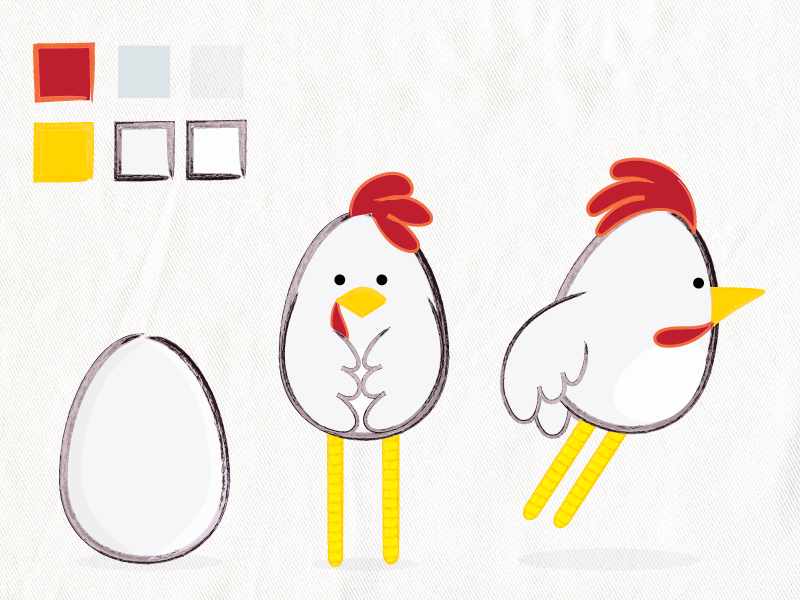 First pass at the character design for my Chicken Loopdeloop animation