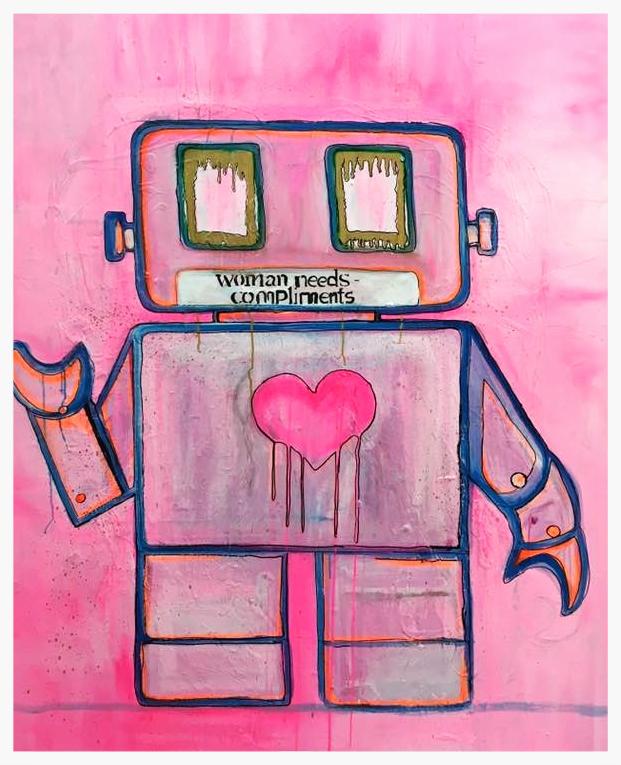 Robot series  Pink Robot 120x150cm