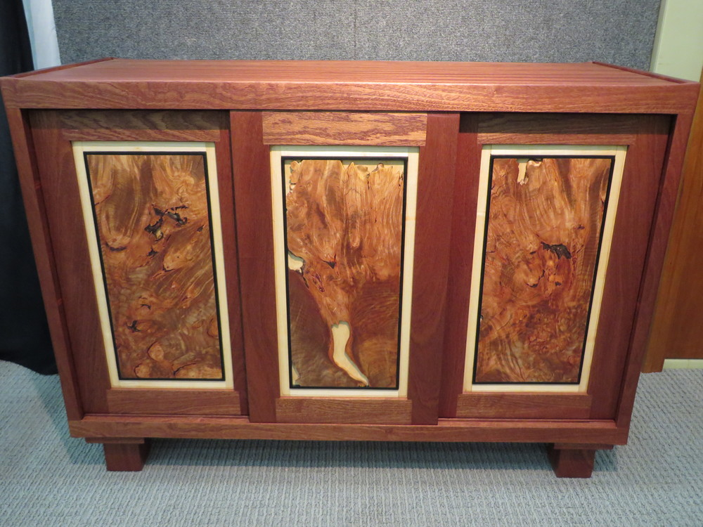 Live Edge Burl Cabinet. Sapele, Maple Burl and other woods. 44""