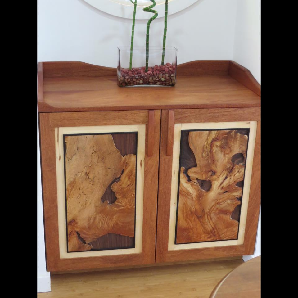 Live Edge Burl, Built-in Cabinet. Mahogany, Maple Burl and other woods