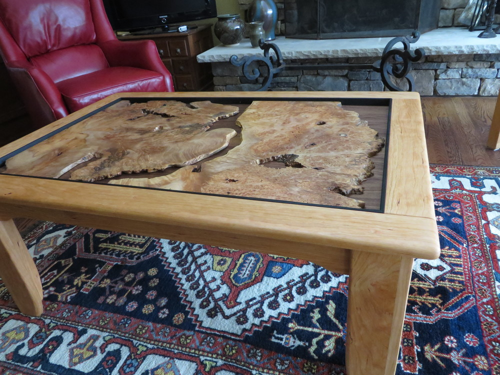 Cherry and Burl Coffee Table with Walnut Backing