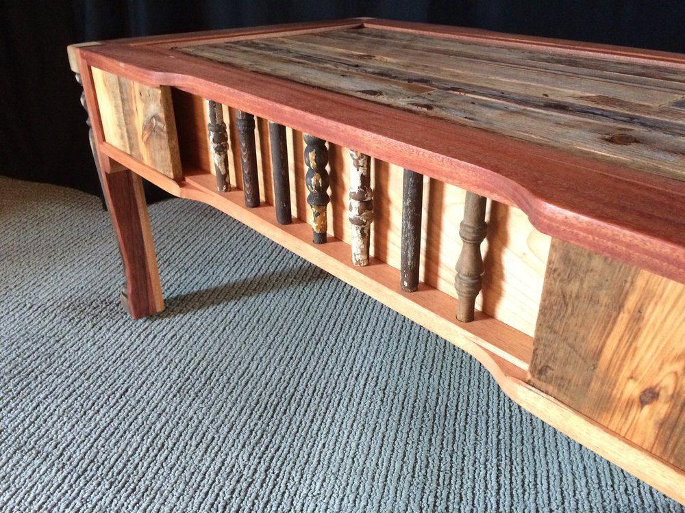 Rustic Spindle Coffee Table (side view)