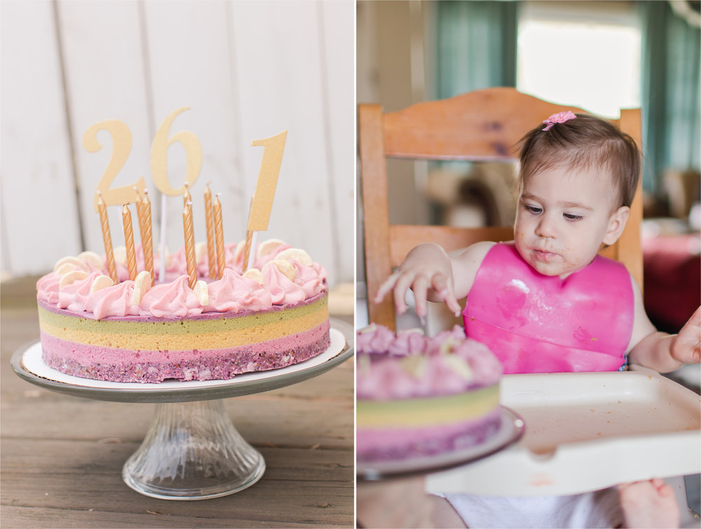 Violet shared the party and the cake with her 26 year old cousin.