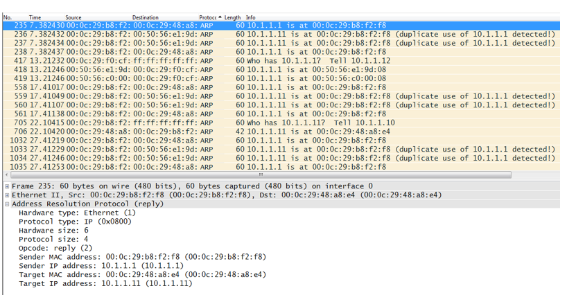 Layer 2 Man-In-The-Middle (MITM) Attack Packet Capture