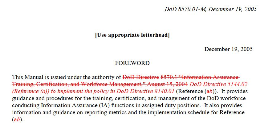 Changes added to DoD 8570.01-M to change applicability to DoDD 8140.01