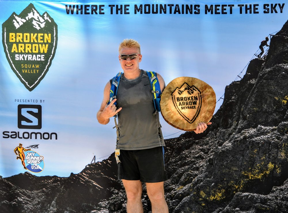 Christian after finishing the 2017 Broken Arrow Skyrace