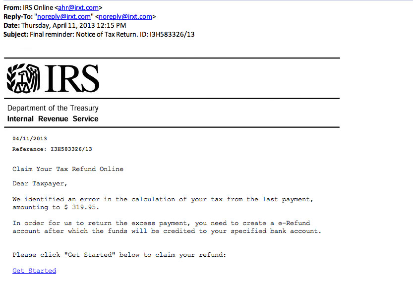"Example of IRS Phishing Email. Notice the ""From"" and ""Reply-To"" addresses."