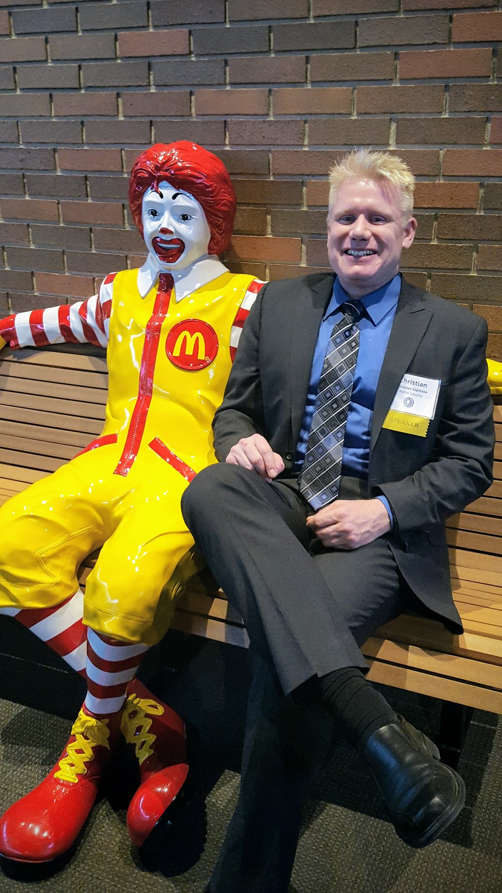 Christian, hanging out with Ronald, at Hamburger University during the Conference on Enterprise Excellence