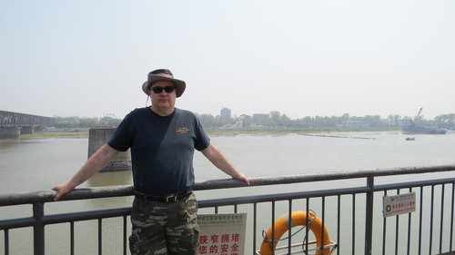 Doc Sewell in Dandong, China, across the Yalu River from Shinuiju, North Korea