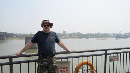Doc Sewell in Dandong, China, across the Yalu River from Shinuiju, North Korea