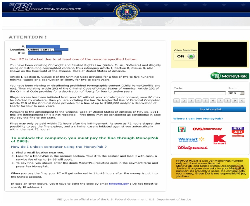 """""""FBI"""" Ransomware Example (click to enlarge)"""