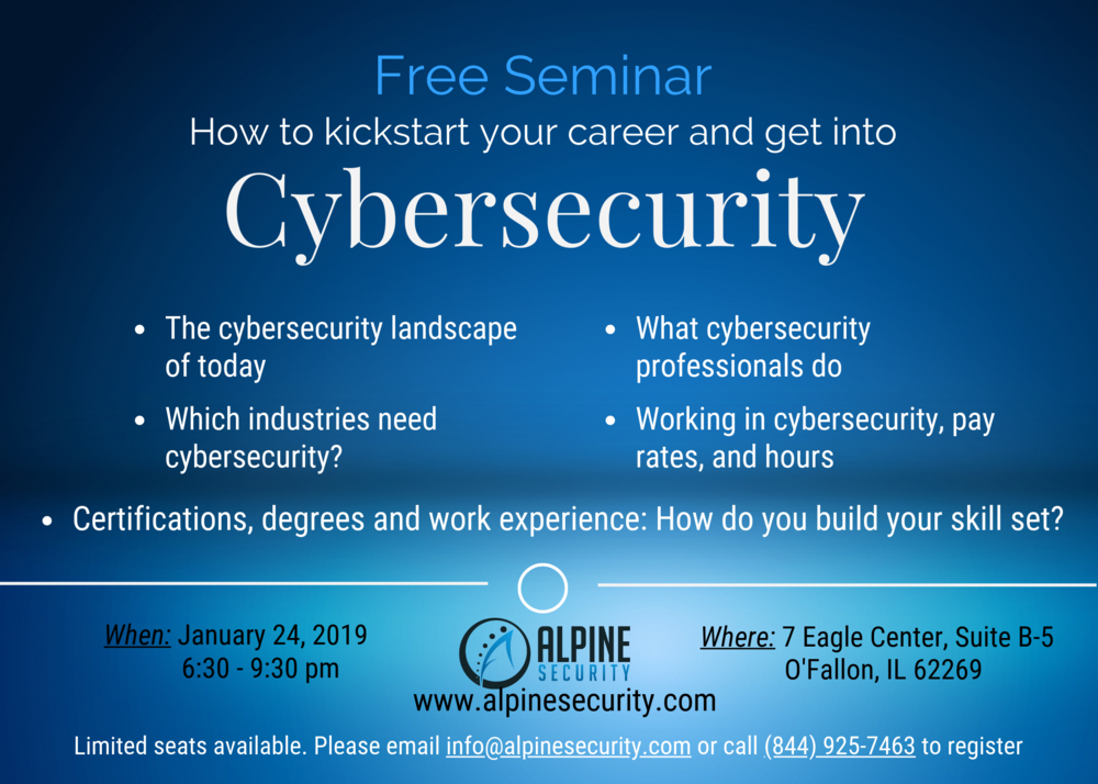 Free Seminar on starting a cybersecurity career