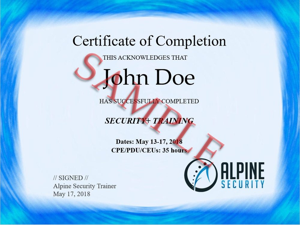 Sample Alpine Security Course Completion Certificate (click to enlarge)