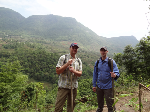 Isaac (on the left) hiking in Vietnam