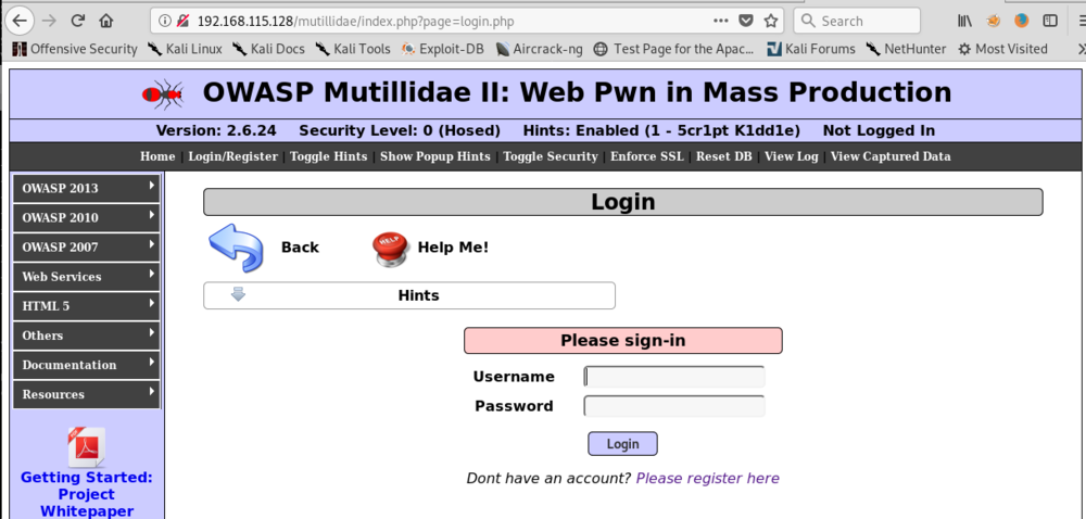 Multillidae Login Page