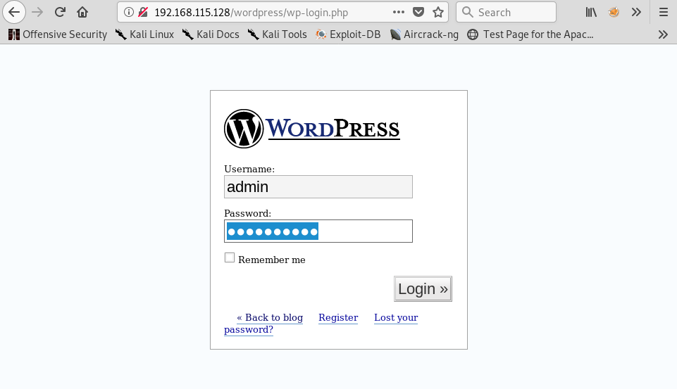 Logging in to the WordPress Admin Page