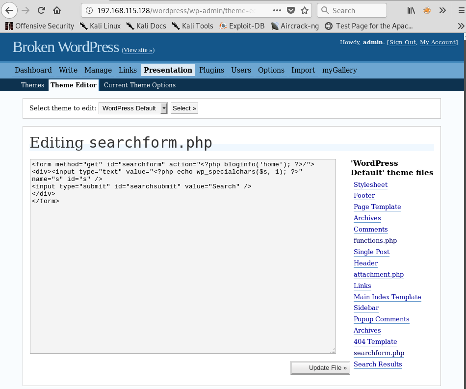 Editing the searchform.php File in the WordPress Default Theme