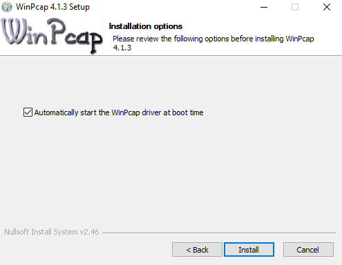 Select the start the WinPcap driver at boot option