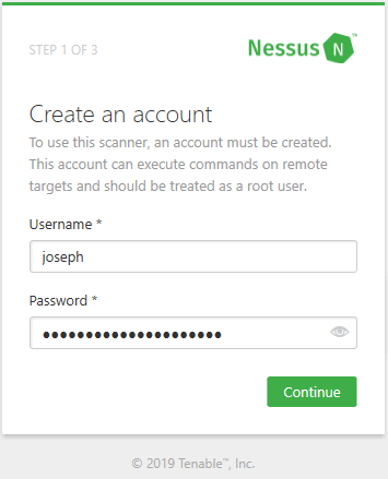 Creating a Nessus account