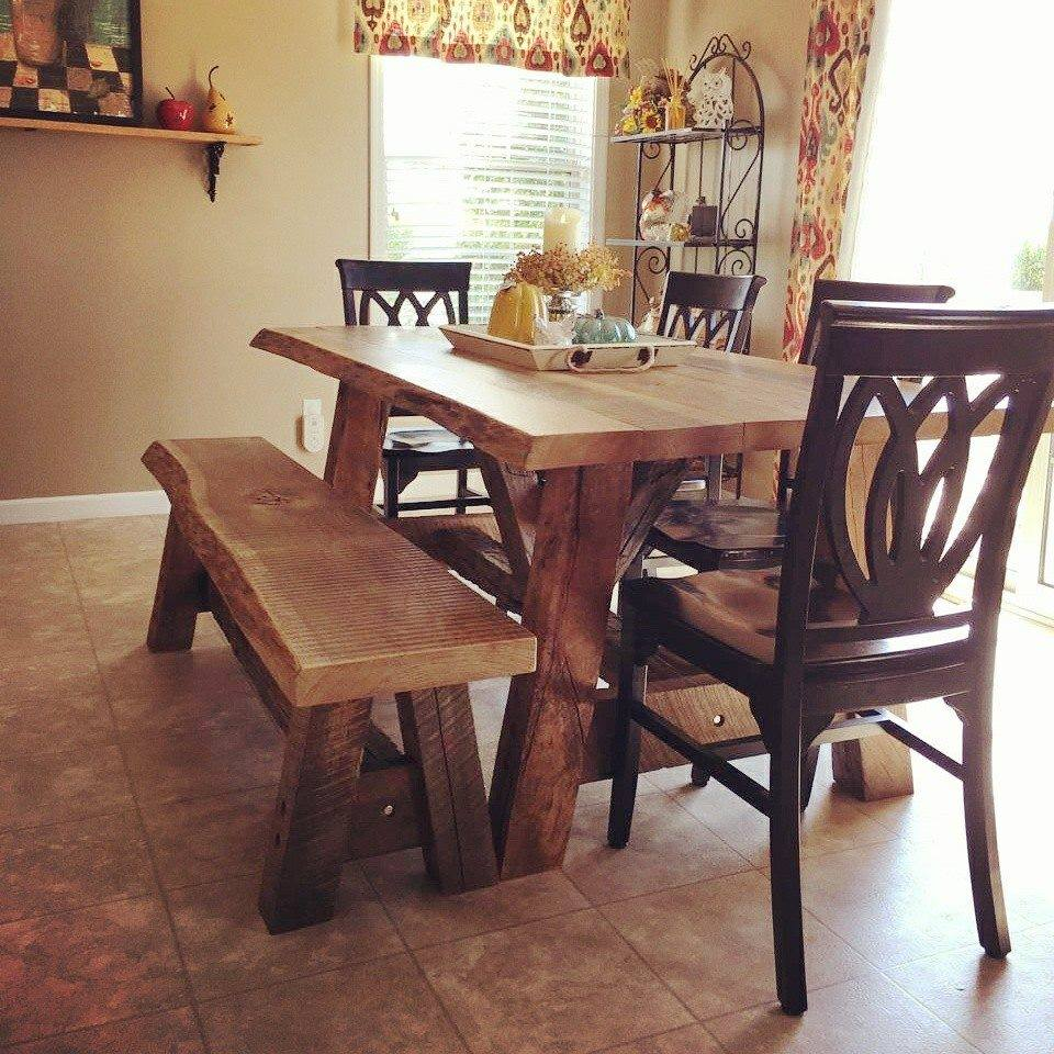Reclaimed Farm Table and Bench. Follow the link to learn more  http://www.reclaimedbarnsandbeams.com/farm-tables-1/