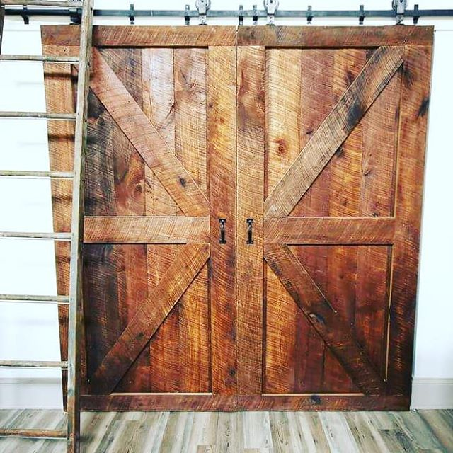 Two British Brace Sliding Barn Doors. Created with poplar circle milled lumber.
