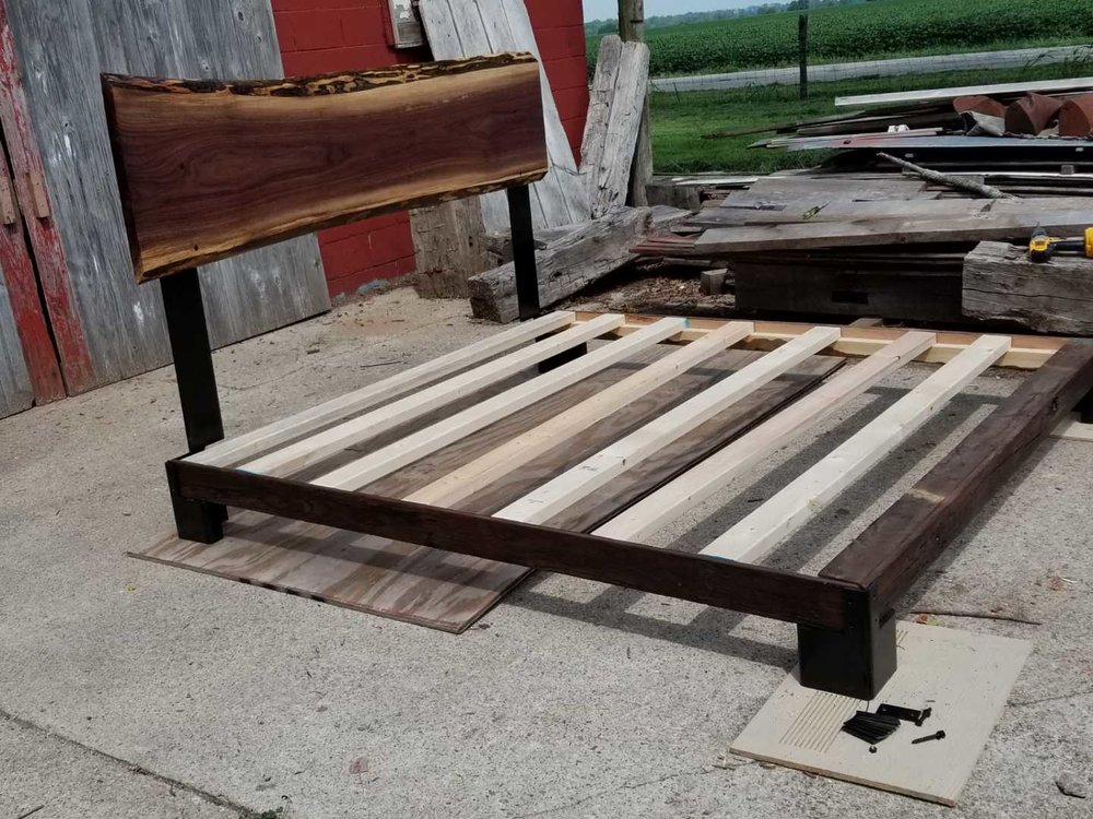 King size bed with Black Walnut Live Edge Head Board