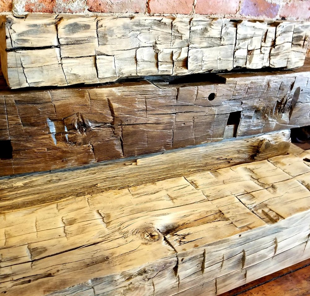Hand Hewn with stain and without