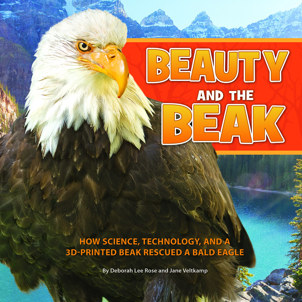 "Cover and other photos by Glen Hush (c) Jane Veltkamp; Michelle Barker; and the USFWS National Digital Library ALA Booklist: ""...the science and technology included in this book are supremely interesting...the compassion and dedication of the people who put it to use to save this wonderful bird are the best part of the story. I defy anyone not to be moved by the picture of Beauty using her restored beak to take a drink of water."" SLJ: ""Outstanding full-page photographs accompany this uplifting account...Highly valuable for elementary schoolers as a lesson in empathy; an inspiring addition to STEM collections."" Midwest Book Review Children's Book Watch: ""Impressively informative, exceptionally well written, profusely illustrated"" Kirkus Reviews: ""Offer this heartwarming example of animal rehabilitation to fans of Winter's Tail...Solid information about bald eagles in the wild is woven into the story...Resources include web connections and QR codes to be used with a Cornell Lab of Ornithology app.""  Engage Their Minds blog: ""There are so many lessons to be learned by the story of Beauty, from the perils of poaching to the fantastic feats that can be accomplished by those who work together to beat the odds."" NSTA past president Dr. Karen Ostlund says: ""Not only does this book tell the poignant story of human compassion and ingenuity, but it is an inspiration for promoting the value of STEM education. The story of Beauty and the beak is sure to touch the hearts and minds of everyone! ""    Lori Oczkus, national literacy expert and author, says: ""Our classrooms desperately need powerful true stories like Beauty and the Beak to inspire students to read informational text and to learn to care for our world one creature at a time! Beauty and the Beak provides many opportunities for students to think critically and discuss important issues surrounding the environment. Students naturally gravitate to reading books about animal rescues and learning how human carelessness often endangers wildlife. Beauty and the Beak presents exciting ways students can learn about and help endangered species."""