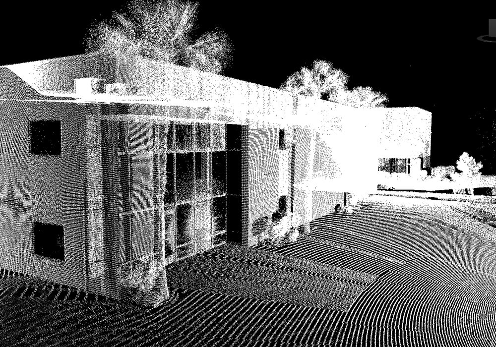 Fig 3: This point cloud was captured by Gameli Revit using a Leica LiDAR unit. Note how the points seem to radiate from a position to the right of the image.