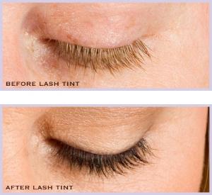 Sample of eyelash tinting