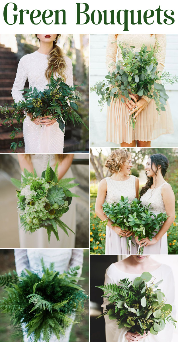 Foliage and Fern Green Wedding Bouquets that don't say