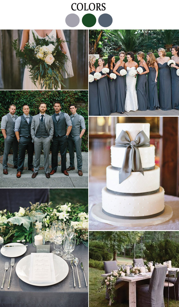 grey and green wedding