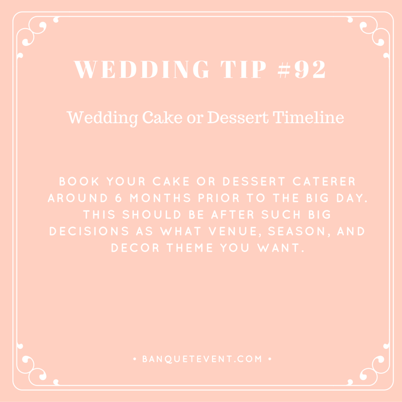 Wedding Tip 9 Wedding Cake Or Dessert Timeline Lucky In